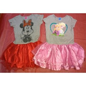2 Disney Girl size 10/12 Tulle Dresses Frozen